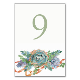 Watercolor Succulent Cluster Wedding Table Card