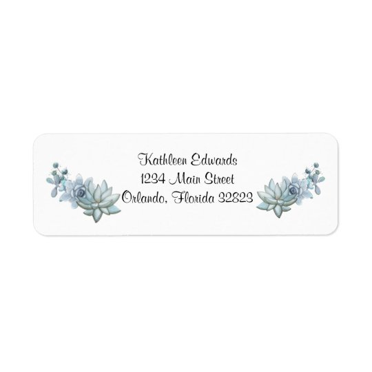 Watercolor Succulent & Flower Return Address Label