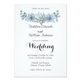 Watercolor Succulent & Flower Wedding Invitation