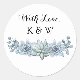 Watercolor Succulent & Flower Wedding Sticker