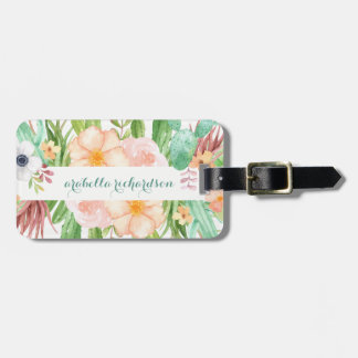 Watercolor Succulent Flowers on White Luggage Tag
