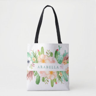 Watercolor Succulent Flowers on White Tote Bag