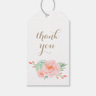 watercolor succulent peach roses Gift Tag Pack Of Gift Tags