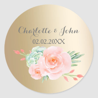watercolor succulent peach roses wedding stickers