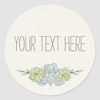 Watercolor Succulent Shabby Chic Bohemian Floral Classic Round Sticker