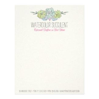 Watercolor Succulent Shabby Chic Bohemian Floral Letterhead