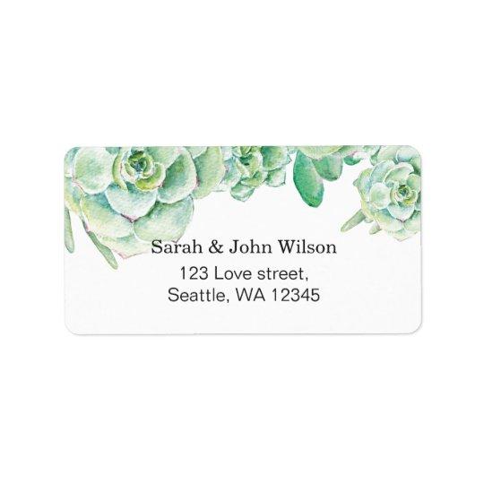 watercolor succulent wedding address label