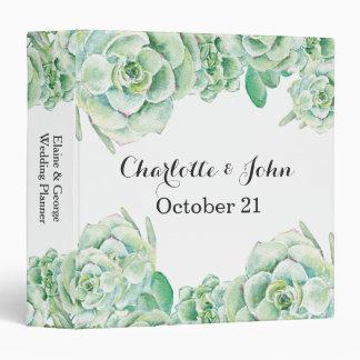 watercolor succulent wedding Planner 3 Ring Binder