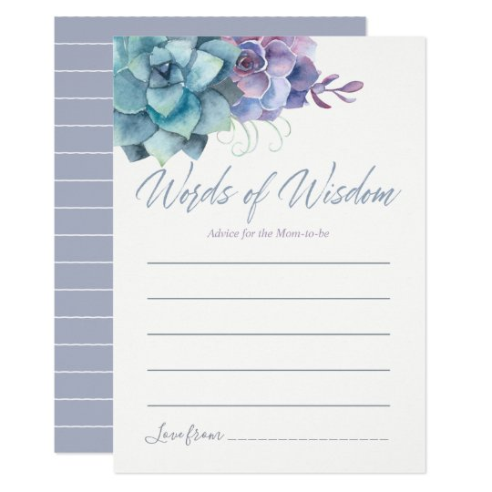 Watercolor Succulents Advice for Mom Baby Shower Card