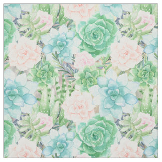 Watercolor Succulents | Aqua, Coral, Mint Green Fabric