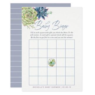 Watercolor Succulents Baby Shower Baby Bingo Card