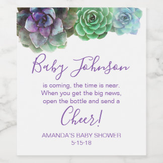 Watercolor Succulents baby shower wine label