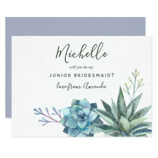 Watercolor Succulents Be My Junior Bridesmaid Card