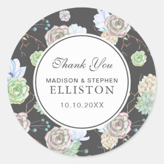 Watercolor   Succulents & Branches   Thank You Classic Round Sticker