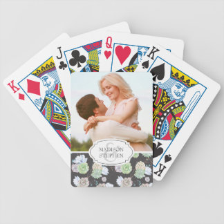 Watercolor | Succulents & Branches - Wedding Photo Bicycle Playing Cards