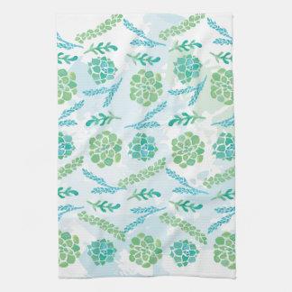 Watercolor Succulents Dish Towel