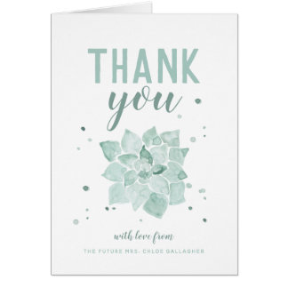 Watercolor Succulents Future Mrs. Thank You Folded Card