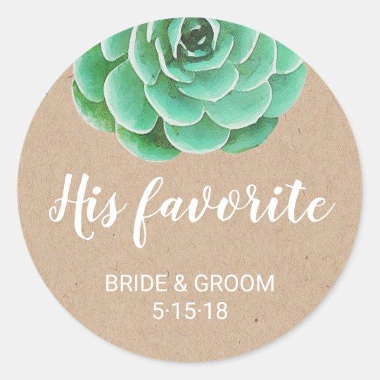 Watercolor Succulents   His Favourite Favour Label