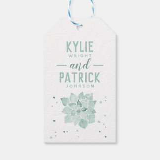 Watercolor Succulents Let Love Grow Wedding Favor Gift Tags