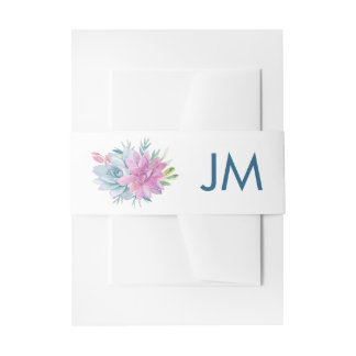 Watercolor Succulents Monogram Wedding Invitation Belly Band