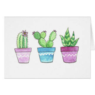 Watercolor Succulents Note Card