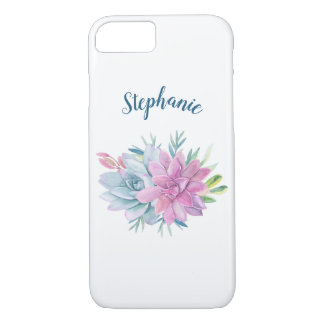 Watercolor Succulents Personalized Case-Mate iPhone Case