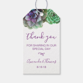 Watercolor Succulents | Rustic Wedding Favor Tag