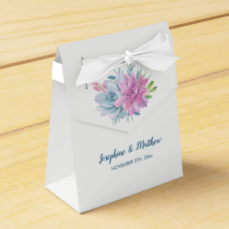 Watercolor Succulents Wedding Favor Box