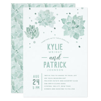 Watercolor Succulents Wedding Invitation