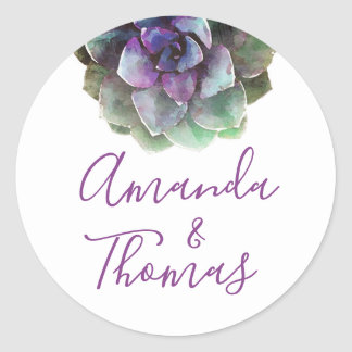 Watercolor Succulents | Wedding Label | Seal