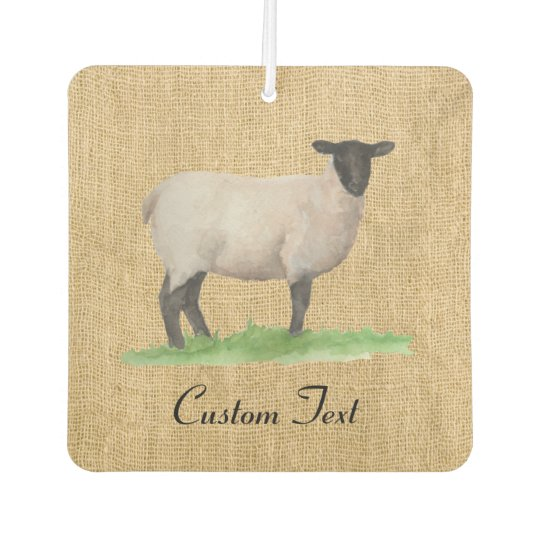 Watercolor Suffolk Sheep Faux Burlap Car Air Freshener