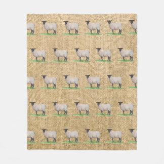 Watercolor Suffolk Sheep Fleece Blanket