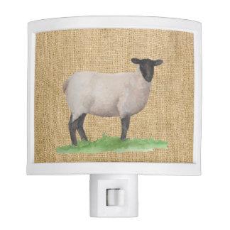 Watercolor Suffolk Sheep Nite Lite