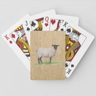 Watercolor Suffolk Sheep Playing Cards