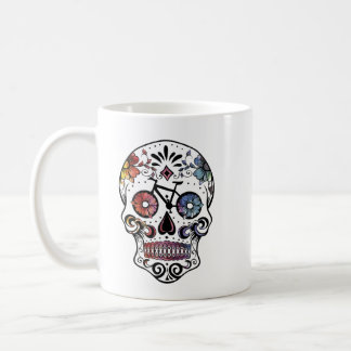 Watercolor sugar skull with bike parts coffee mug
