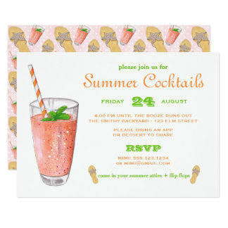 Watercolor Summer Cocktail Party Card