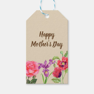 Watercolor Summer Flowers Floral Mother's Day Gift Tags