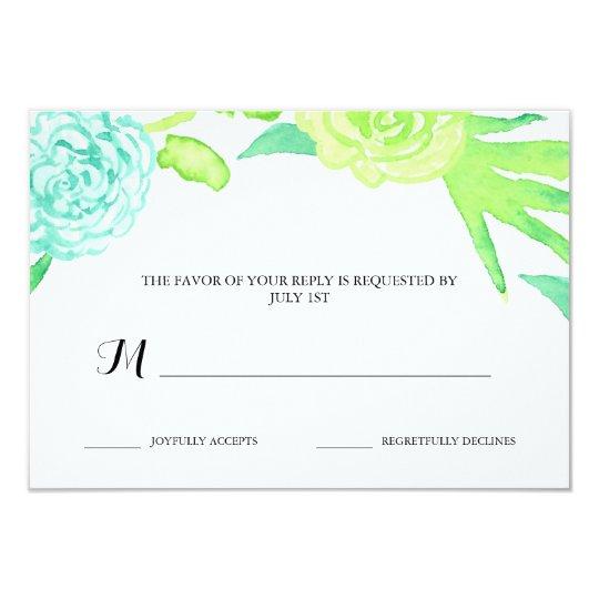 Watercolor Summer Flowers Wedding RSVP Card