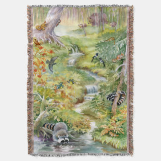 Watercolor Summer Scene Woven Throw Blanket