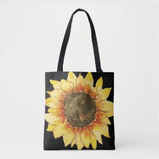 Watercolor Sunflower Bloom Tote Bag