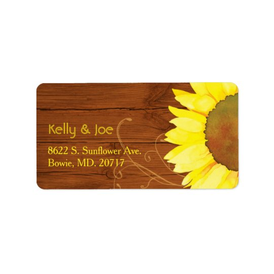 Watercolor Sunflower on Wood Wedding