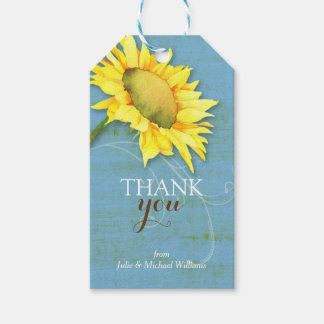 Watercolor Sunflower Rustic Blue Wedding Thank You Pack Of Gift Tags