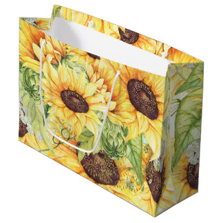 Watercolor Sunflowers and Greenery LARGE Gift Bags