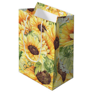 Watercolor Sunflowers Greenery Medium Gift Bags