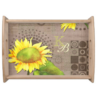 Watercolor Sunflowers Monogrammed Serving Tray