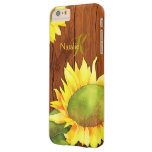 Watercolor Sunflowers on Wood iPhone 6 Plus Case Barely There iPhone 6 Plus Case