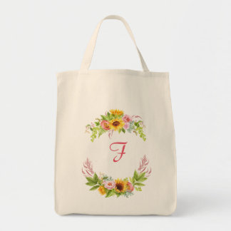 Watercolor Sunflowers Peonies Roses Monogram Boho Tote Bag