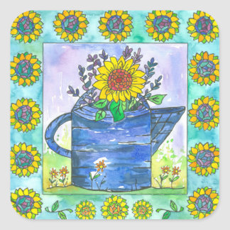 Watercolor Sunflowers Square Sticker