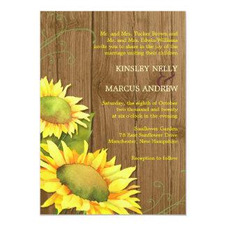 "Watercolor Sunflowers + Wood Grain Wedding 5"" X 7"" Invitation Card"