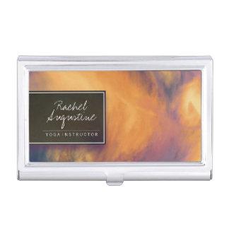 Watercolor Sunset Sky Yoga Meditation Instructor Business Card Holder